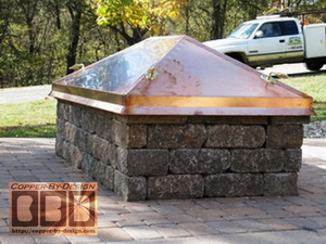 Copper fire pit cover w/brass handles