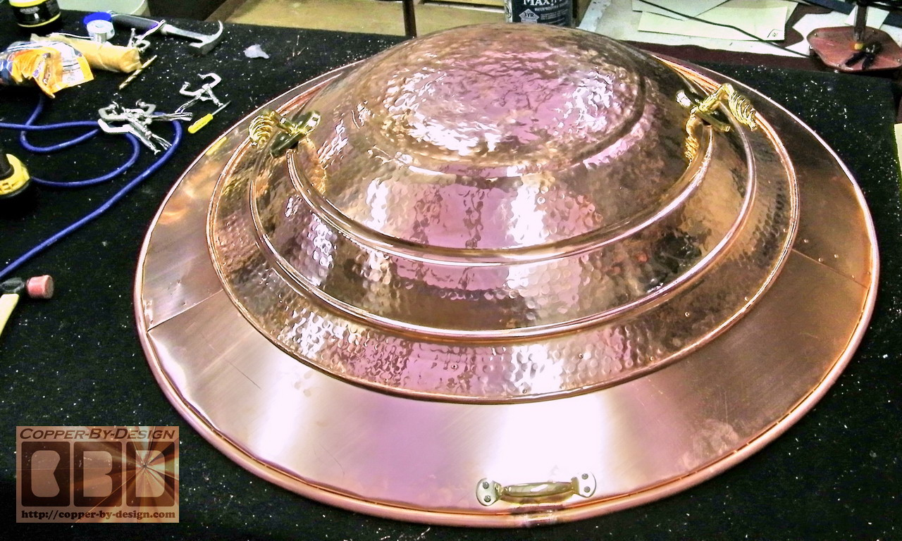 Copper Fire Pit Cover W Brass Handles