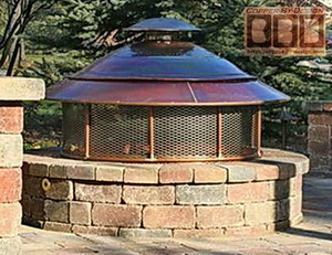 copper fire pit cover w/stainless steel screen
