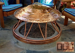 fire-pit cover w/brass handle