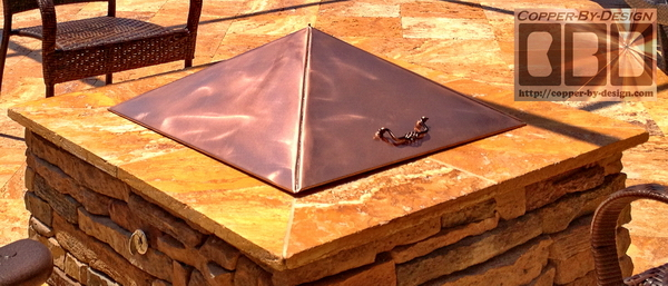 fire-pit cover w/brass handles - CBD's Copper Fire Pit Cover Price & Photo Page