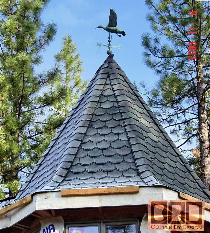 Cbd 39 s huffmon copper turret roof cap page for Gazebo roof pitch